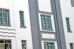 Art deco buildings. Windows on the side of Art Deco buildings in Miami, USA Royalty Free Stock Photo