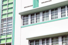 Art deco buildings. Windows on the side of Art Deco buildings in Miami, USA Royalty Free Stock Photography