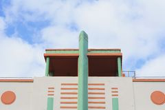 Art Deco buildings in Miami, Florida. Close-up detail of Art Deco buildings in Miami, Florida stock images