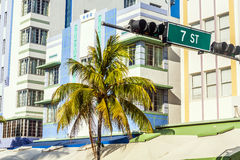 Art deco buildings at the Ocean Drive in Miami Beach Royalty Free Stock Photography