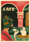 Art Deco Café. An art deco vintage cafe coffee poster by Martin Wickstrom aka Benjamin Bay stock illustration