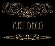 Art deco calligraphic golden design elements, curly patterns with 3d effect. Vector EPS 10 vector illustration
