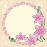 Art Deco Card With Orchid Stock Photos