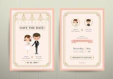 Art Deco Cartoon Couple Wedding-Einladungs-Karte Stockfotos