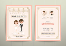 Art Deco Cartoon Couple Wedding inbjudankort Arkivfoton
