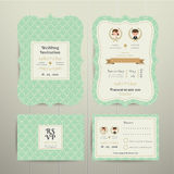 Art Deco Cartoon Couple Wedding Invitation Card RSVP Set Gold and Green Royalty Free Stock Image