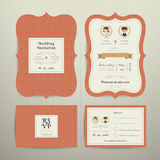 Art Deco Cartoon Couple Wedding Invitation Card RSVP Set Gold and orange. On wood background Stock Photo