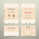 Art Deco Cartoon Couple Wedding Invitation Card and RSVP Set Royalty Free Stock Photos