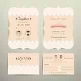 Art Deco Cartoon Couple Wedding-Uitnodigingskaart en RSVP-Reeks Royalty-vrije Stock Foto's