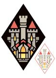 Art Deco Castle Insignia Stock Photography