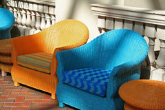 Art Deco Chairs. Blue and Orange Lounge Chairs stock photo