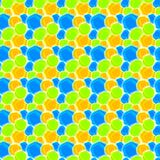 Art Deco Circular Spots Seamless Texture. Yellow, blue and green paint circular spots background looking like water drops on a painting. Seamless pattern Stock Photography