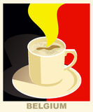 Art deco coffee poster with flag Belgium. Coffee vintage concept. National coffee shop, cafe, restaurant, bar. Vector Royalty Free Stock Photography