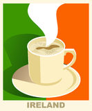 Art deco coffee poster with flag Ireland. Coffee vintage concept. National coffee shop, cafe, restaurant, bar.
