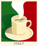 Art deco coffee poster with flag Italy. Coffee vintage concept. National coffee shop, cafe, restaurant, bar. Stock Images