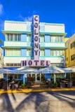 Art Deco Colony Hotel en la impulsión del océano en Miami Beach Imagenes de archivo