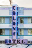 The art deco Colony Hotel on iconic Ocean Drive in the beautiful Royalty Free Stock Photo