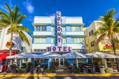 Art Deco Colony Hotel på havdrev i Miami Beach royaltyfri fotografi