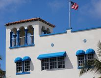 Art deco Colorful white and blue windows in the streets of Miami beach south Florida houses Ocean drive. Colorful white and blue windows in the streets of Miami stock photo