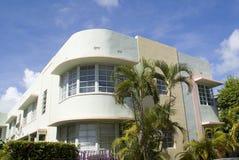 Art deco condominium. Scenic view of art deco condominium building with palm trees in foreground, Miami, Florida, U.S.A Royalty Free Stock Images
