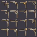 Art deco corner. Modern graphic corners for vintage gold pattern border. Golden 1920s fashion decorative lines frame. Or vector ornaments geometric frames stock illustration