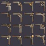 Art deco corner. Modern graphic corners for vintage gold pattern border. Golden 1920s fashion decorative lines frame