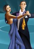 Art deco dancers. Dancing Couple in retro style vector illustration