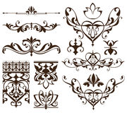 Art deco design elements of vintage ornaments and borders corners of the frame Isolated art nouveau flourishes Simple elements. Of floral ornaments and Royalty Free Stock Photos