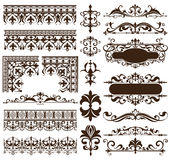 Art deco design elements of vintage ornaments and borders corners of the frame Isolated art nouveau flourishes Simple elements of. Floral ornaments and Royalty Free Stock Photos