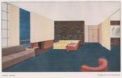 ART DECO - Design GILBERT ROHDE- für ein Wohnzimmer circa 1930 - veröffentlicht im Studio Magazin, London CIRCA lizenzfreie stockfotografie
