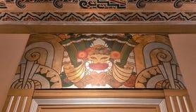 Art Deco design på den återställt teaterväggen och tak Royaltyfri Fotografi