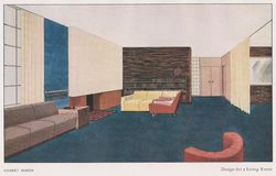 ART DECO - GILBERT ROHDE- Design for a Living Room Circa 1930 -Published in The Studio Magazin, London CIRCA royalty free stock photography