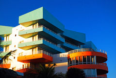 Art Deco designs. Newly built structures in South Beach Miami encompass Art Deco designs Royalty Free Stock Photo