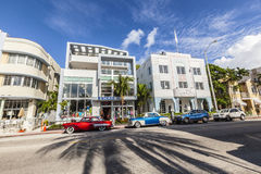 The Art Deco district in Miami and a classic oldsmobile car Stock Image