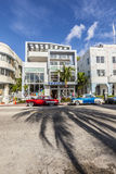 The Art Deco district in Miami and a classic oldsmobile car Royalty Free Stock Photo