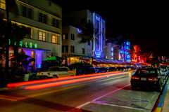 Art Deco District at Night stock image