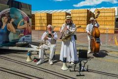 Art Deco Dixieland Jazz Band in Napier - New Zealand. Napier, New Zealand - November 19, 2014: The Twin City Stompers Art Deco Dixieland Jazz Band greets Stock Image