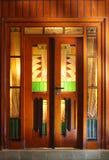 Art deco door. A beautiful decorated art-deco wooden door Stock Photo