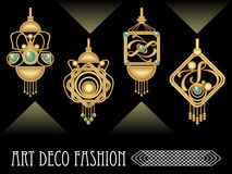 Art deco earrings collection, luxury golden jewel in art nouveau style. Elegant expensive jewelry, filigree goldsmith work vector EPS 10 Royalty Free Stock Photos