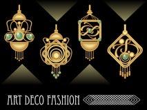 Art deco earrings collection, luxury golden jewel in art nouveau style vector illustration