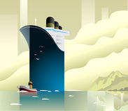 Art deco ferry ship and boat vector illustration. Stock Images