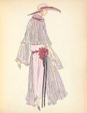 Art Deco Flapper Fashion Plate illustrationdam med hatten och klänningen Royaltyfri Foto