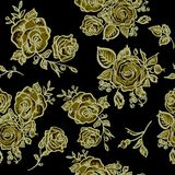 Art Deco floral seamless pattern with roses Stock Photo