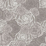 Art Deco Floral Seamless Pattern With Roses. Royalty Free Stock Images