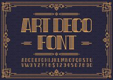 Art deco font. Retro font sans serif style for party poster, printing on fabric, t shirt, promotion, decoration, stamp, label. Cool bold modern alphabet Royalty Free Stock Images
