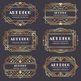 Art deco frame. Antique golden label, luxury gold business card letter title and vintage ornaments frames design vector royalty free illustration