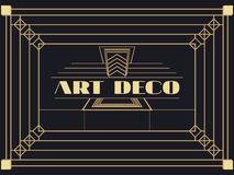 Art deco frame. Art deco geometric vintage frame. Retro style background. Stock Images