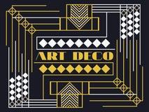 Art deco frame. Art deco geometric vintage frame. Retro style background. Style 1920's, 1930's. Stock Image