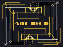 Art deco frame. Art deco geometric vintage frame. Retro style background. Style 1920s, 1930s. Royalty Free Stock Photo