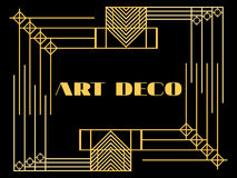 Art deco frame. Art deco geometric vintage frame. Retro style background. Style 1920's, 1930's. Royalty Free Stock Image